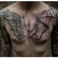 Super schwarzes im Skizze Stil Brust Tattoo von Engel und Dämon Flügeln