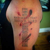 Super black red cross of words tattoo design ideas for men