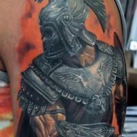 super realistico gladiatore gueriero tatuaggio sulla spalla per uomo