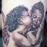 Super realistic kissing cherub baby tattoo