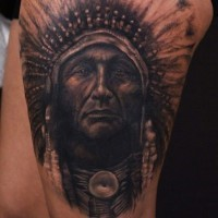 Super realistic portrait of an indian tattoo by Luka Lajoie
