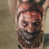 super realistico spaventoso pagliaccio tatuaggio