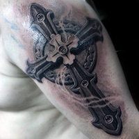 Super realistic stone cross tattoo for men