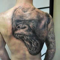 Superior black ink back tattoo of large gorilla head