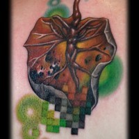 Superior colored back tattoo of natural leaf with geometrical figures