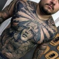 Wunderbarer religiöser Stil schwarzes Brust und Bauch Tattoo mit weinender Frau und Beschriftung
