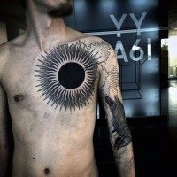 Superior Massive Black And White Sun Tattoo On Chest Tattooimagesbiz