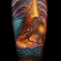 Superior multicolored upper arm tattoo of devils train
