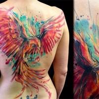 bellissimo colorato grande dipinto astratto fenice tatuaggio pieno di schiena