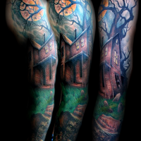 Superior terrifying pained colored old hose tattoo on sleeve with creepy zombie