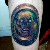 Surprising colored zombie tattoo on high