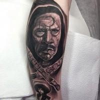 Surprising looking black and white leg tattoo of Machete movie hero