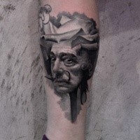 Surrealism style black and white leg tattoo of funny vintage man