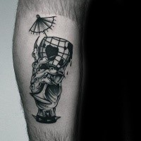 Surrealism style black ink arm tattoo of monster hand holding glass