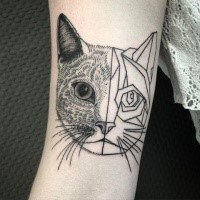 Surrealism style black ink biceps tattoo of cool cat face