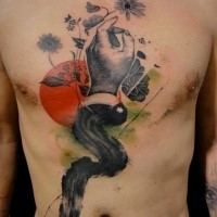 Surrealism style black ink chest tattoo of mans hand with flowers and moon