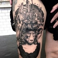 Surrealism style black ink thigh tattoo of strange woman portrait with big house