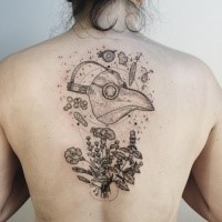 Surrealism style black ink upper back tattoo of plague doctors mask with wild flowers