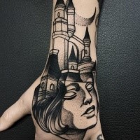 Surrealism style blackwork style hand tattoo of woman head with old castle by Michele Zingales