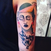 Surrealism style colored arm tattoo of mystic portrait with eye
