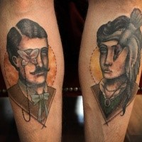 Surrealism style colored arms tattoo of man and woman portraits with bird and butterfly