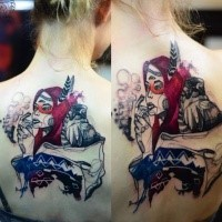 Surrealism style colored by Joanna Swirska upper back tattoo of Indian woman with feather