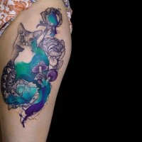 Surrealism style colored by Joanna Swirska thigh tattoo of cat with flowers
