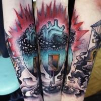 Surrealistischer Stil farbiges Unterarm Tattoo mit mystischem menschlichem Herzen mit Reben und Treppen