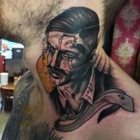 Surrealistischer Stil farbiges Hals Tattoo mit rauchendem Mann und Krawatte