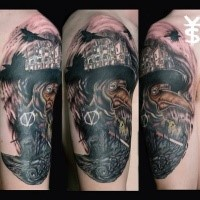 Surrealism style colored shoulder tattoo of creepy plague doctor with crows and old city
