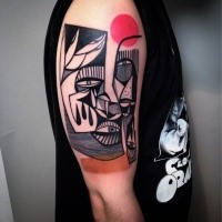 Surrealism style detailed shoulder tattoo of human face with red circle