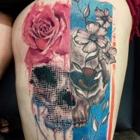 Surrealism style detailed thigh tattoo of skull with various flowers