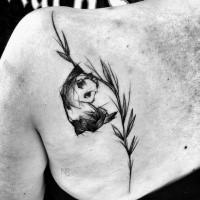 Sweet black ink scapular tattoo of panda on tree by Inez Janiak
