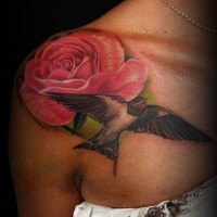 Sweet colored big pink rose with bird tattoo on shoulder