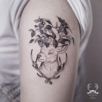 Sweet looking black outline shoulder tattoo of deer with leaves by Zihwa
