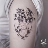 Sweet looking black outline shoulder tattoo of deer with leaves by Zihwa