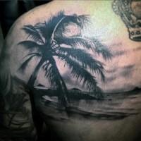 Süße schwarze Insel Ozeanküste Tattoo mit Palme an der Schulter