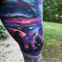 Sweet painted colored big night sky with family tattoo on thigh