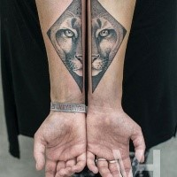 Symmetrical painted arm tattoo of cool cat head by Valentin Hirsch