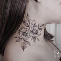Symmetrical painted by Zihwa neck tattoo of nice flowers