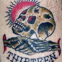 Lucky number thirteen with skull tattoo