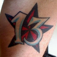 Nautical star and lucky number tattoo