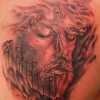 Jesus christ 3d red and black tattoo
