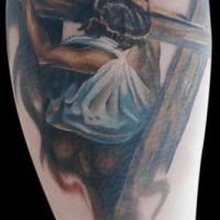 Jesus christ dragging cross coloured tattoo
