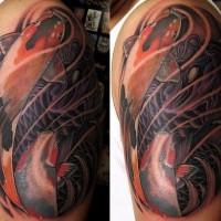 Le tatouage réaliste de carpe coï en couleur