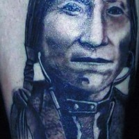 Indian chief Lone Wolf portrait tattoo