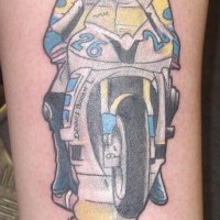 Motorcycle racing tattoo in colour