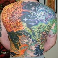 extraterreste vita straordinaria arte pieno di schiena tatuaggio