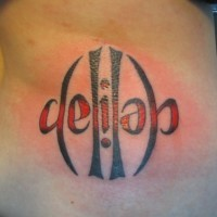 Ambigram coloures tattoo