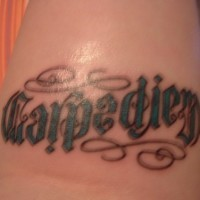 Carpe diem ambigram tattoo in latin
